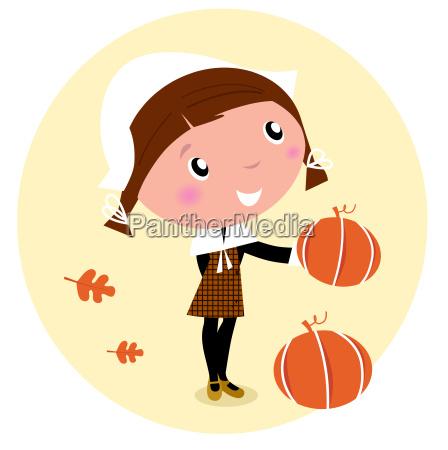 thanksgiving day harvest pilgrim child