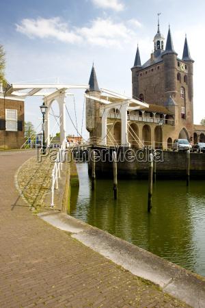 medieval gate and drawbridge zierikzee zeeland