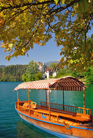 typical wooden boat on the lake