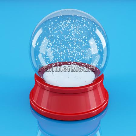 empty snow globe isolated on blue