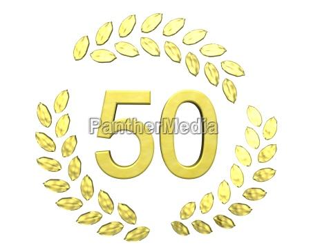 number in laurel wreath