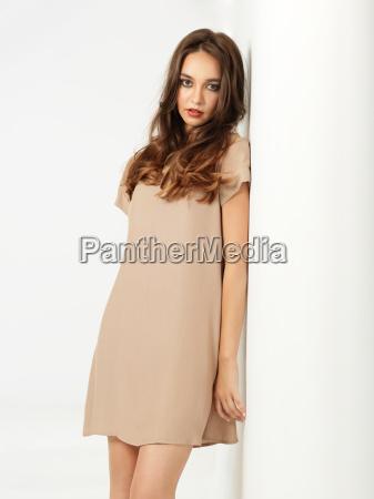 fashion pose young woman short dress