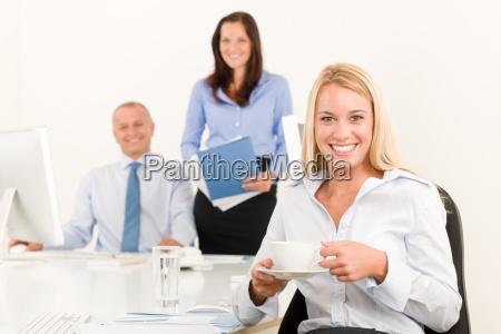 business team pretty businesswoman drink coffee