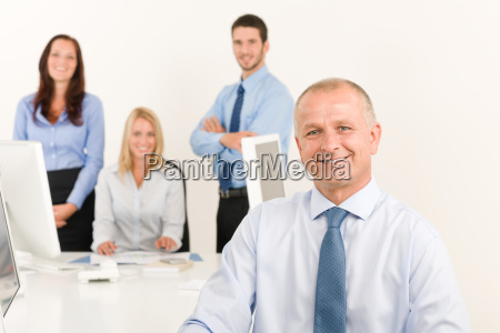 business team senior manager with work