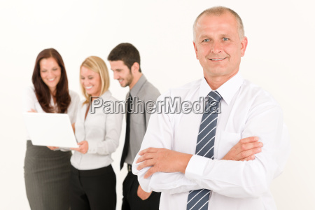 businessman mature with colleagues stand in