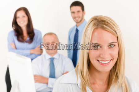 business, team, pretty, businesswoman, with, colleagues - 5416159