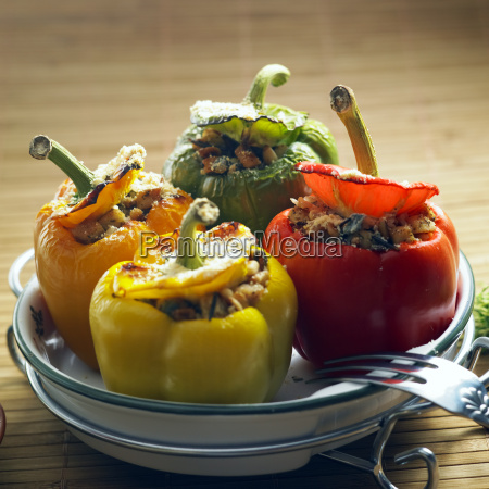 peppers filled with rice and chicken