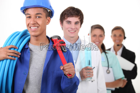four different professions with focus on