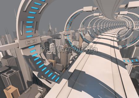 futuristic city bridge