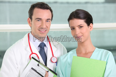 doctor and nurse posing
