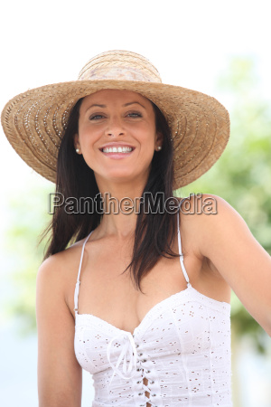 young woman light dressed smiling