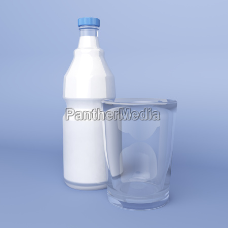 empty glass and bottle of milk