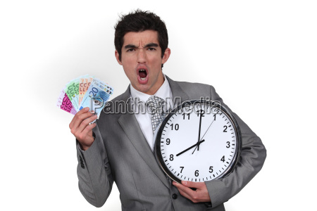 animated businessman with clock and money