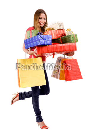 beautiful shopping girl with colorful bags