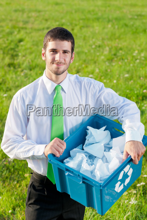 recycling paper box businessman in sunny
