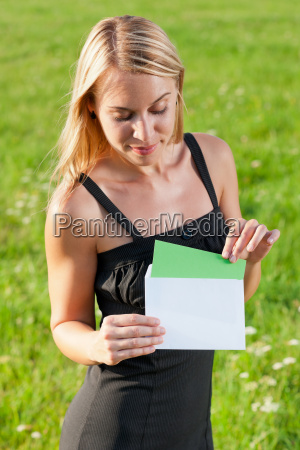 surprise, envelope, young, businesswoman, sunny, meadow - 5467366