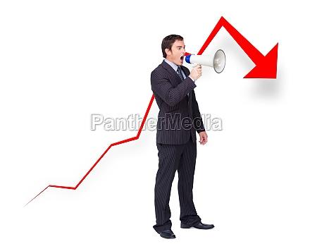 unsuccessful young businessman using a megaphone