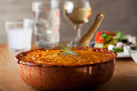 moussaka in a copper pan