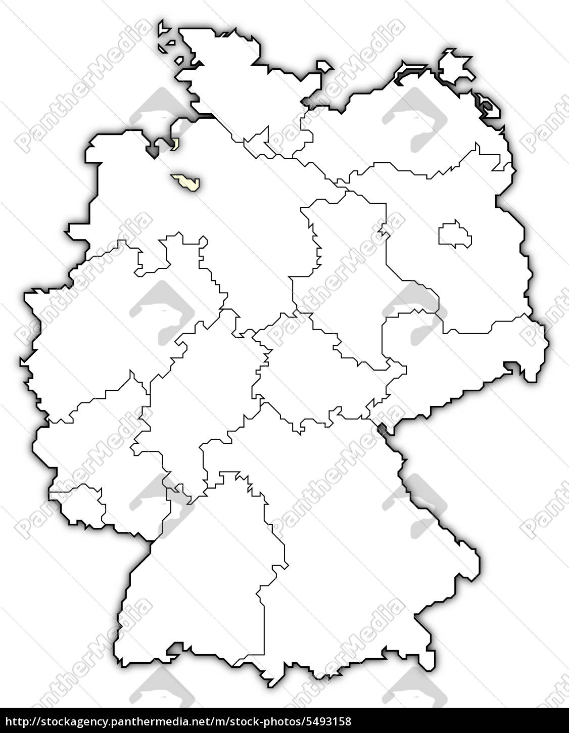 Map Of Germany Bremen Highlighted Stock Image 5493158