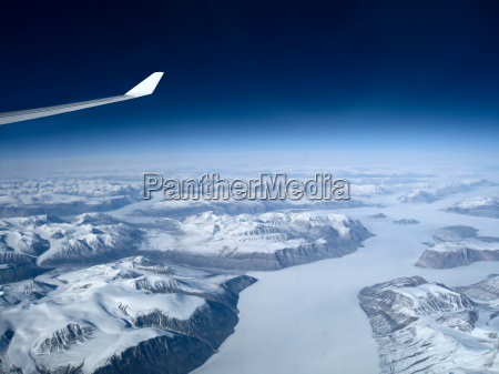 flight over the icy greenland