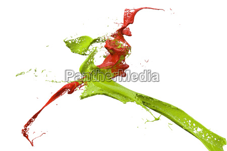 splashing paint in green and red
