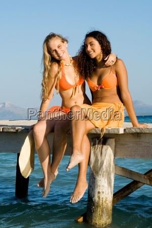 young women on vacation
