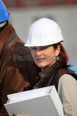 businesswoman on a construction site
