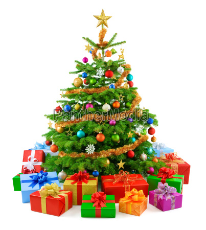 colorful christmas tree with colorful gifts