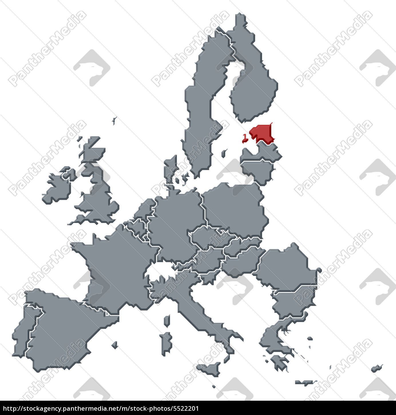 Stock Photo 5522201 - Map of the European Union Estonia highlighted