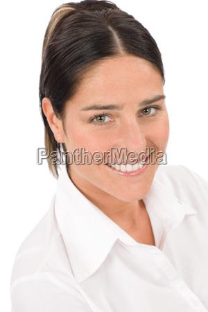 smiling businesswoman attractive brunette portrait