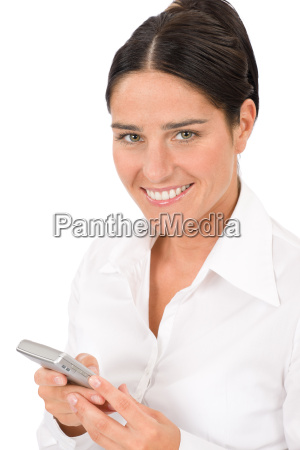 smiling businesswoman attractive hold phone