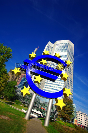 euro symbol with skyscraper on the