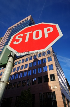 stop sign in frankfurt overlooking a