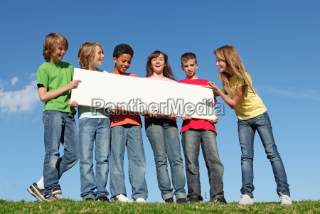 group, of, diverse, children, holding, blank - 5539787