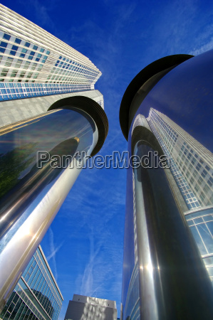 reflection with skyscraper in frankfurt