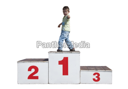 boy on the podium