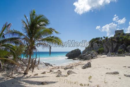 mayan ruins and exotic beach