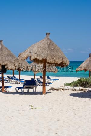 tropical beach with palm sunshades