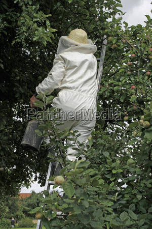 man in protective suit settled by