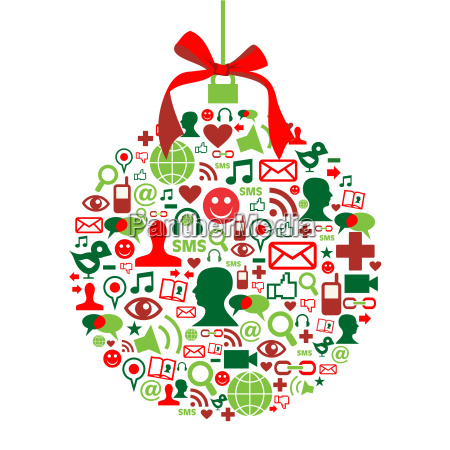 christmas bauble with social media icons