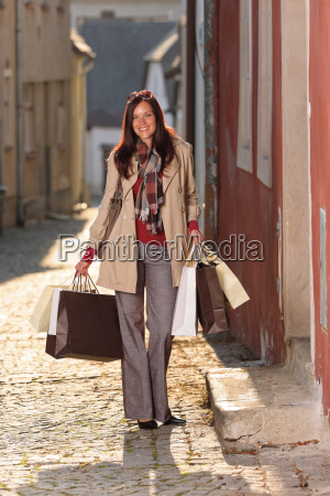 autumn outfit shopping woman elegant with