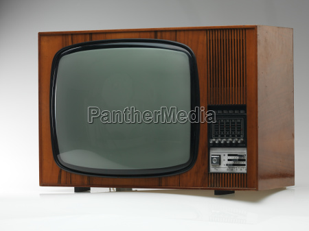 old tv set on gray background