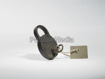 rusty padlock with key