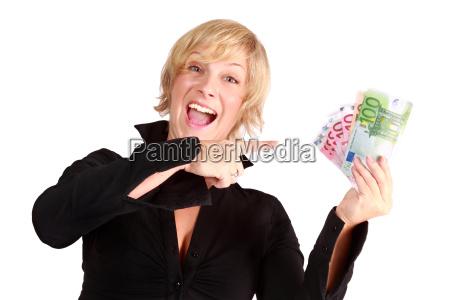 woman enjoying profit