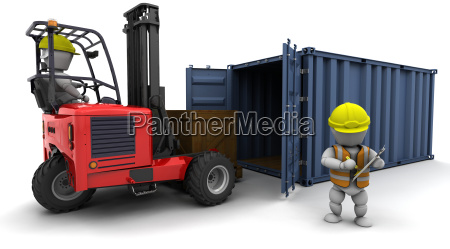 man in forklift truck loading a