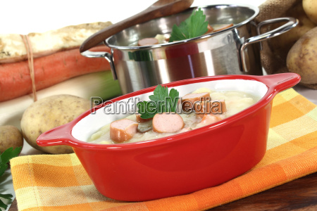 potato soup with viennese sausages soup