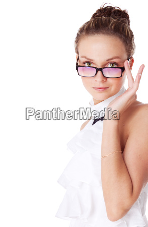 young receptionist in glasses isolated