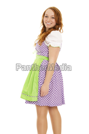young red haired woman in dirndl