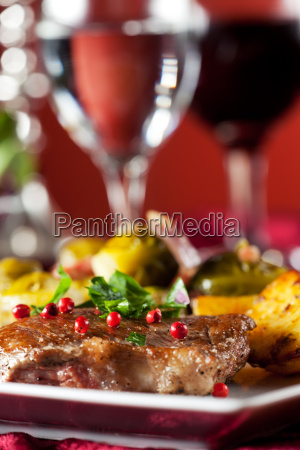 steak with red peppercorns and brussels