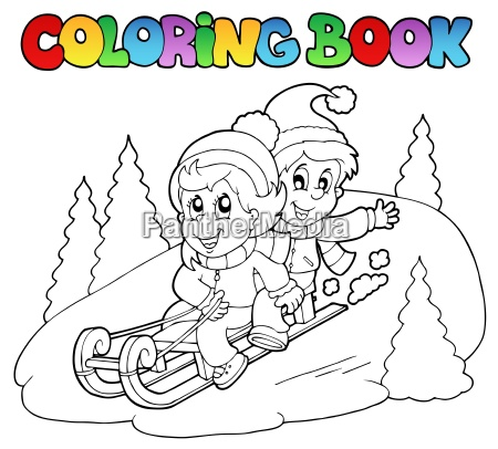 coloring book two kids on sledge